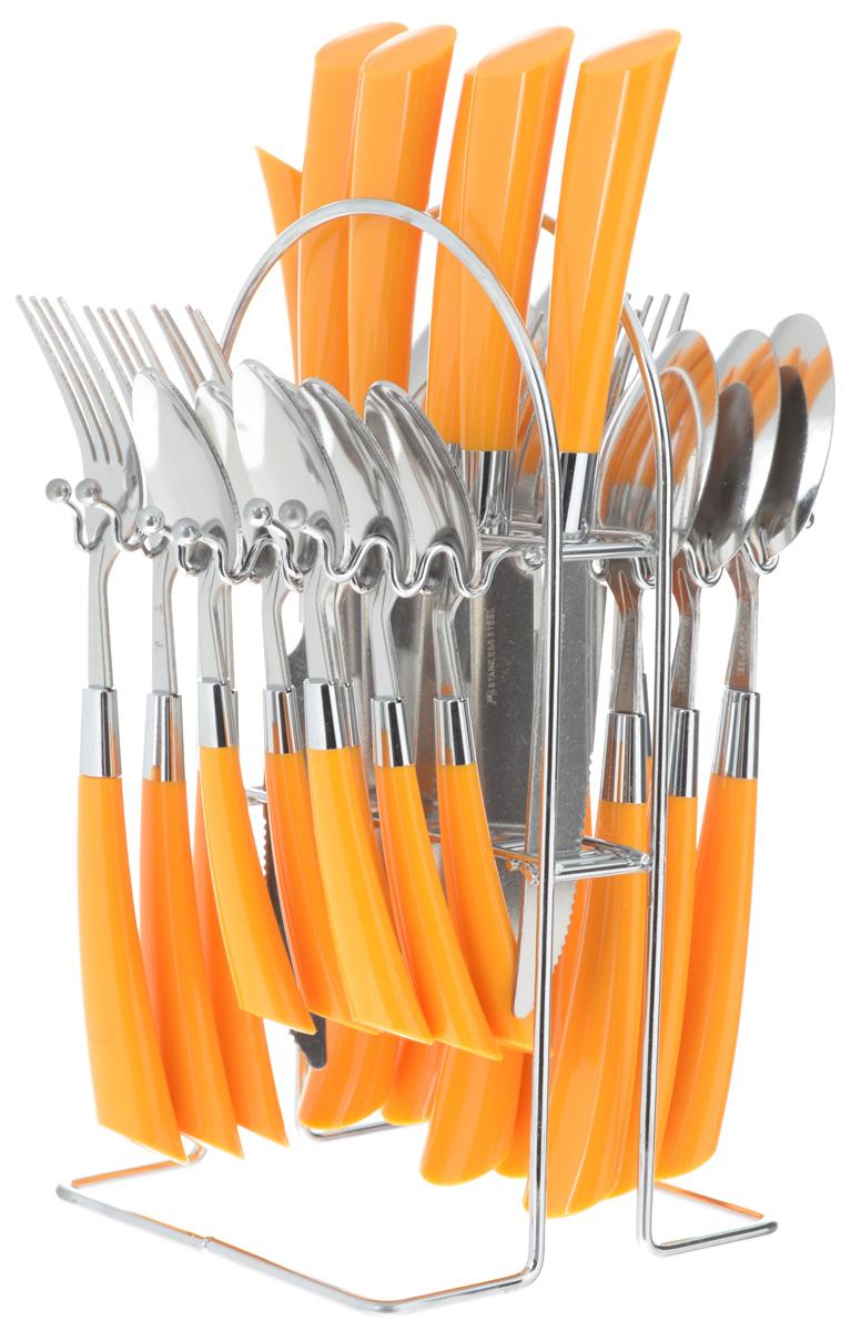 Набор столовых приборов Mayer & Boch, цвет: стальной, оранжевый, 25 предметов20687-1_оранжевыйВ набор Mayer & Boch входят 25 предметов: 6 столовых ножей, 6 столовых ложек, 6 столовых вилок, 6 чайных ложек и подставка, выполненные из высококачественной нержавеющей стали. Ручки приборов оснащены пластиковыми вставками. Предметы набора расположены на оригинальной подставке из нержавеющей стали с удобной ручкой для переноски. Прекрасное сочетание свежего дизайна и удобство использования предметов набора придется по душе каждому. Набор столовых приборов Mayer & Boch подойдет для сервировки стола, как дома, так и на даче и всегда будет важной частью трапезы, а также станет замечательным подарком.Можно мыть в посудомоечной машине. Длина столовой ложки: 20,5 см. Длина столовой вилки: 21 см. Длина чайной ложки: 16 см. Длина ножа: 22,5 см. Размер подставки: 14,5 х 13 х 26 см.