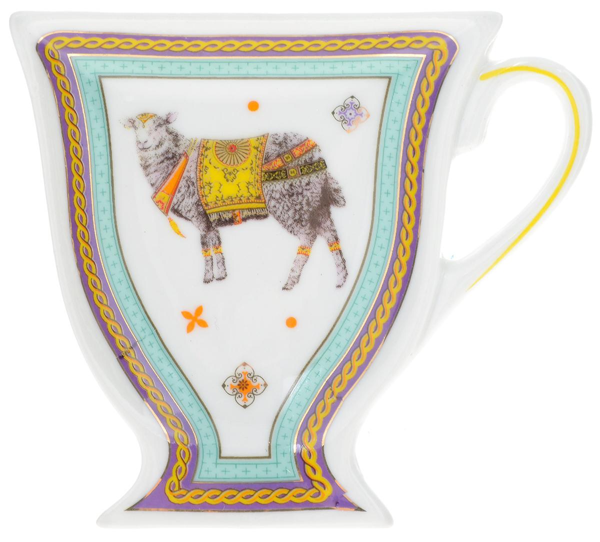 Подставка для чайных пакетиков Loraine Барашек. 2454624546Подставка Loraine Барашек, изготовленная из керамики, порадует вас оригинальностью и дизайном. Подставка выполнена в форме чашки и оформлена изображением барашка. С помощью такого блюдца для чайных пакетиков ваша столешница останется чистой.