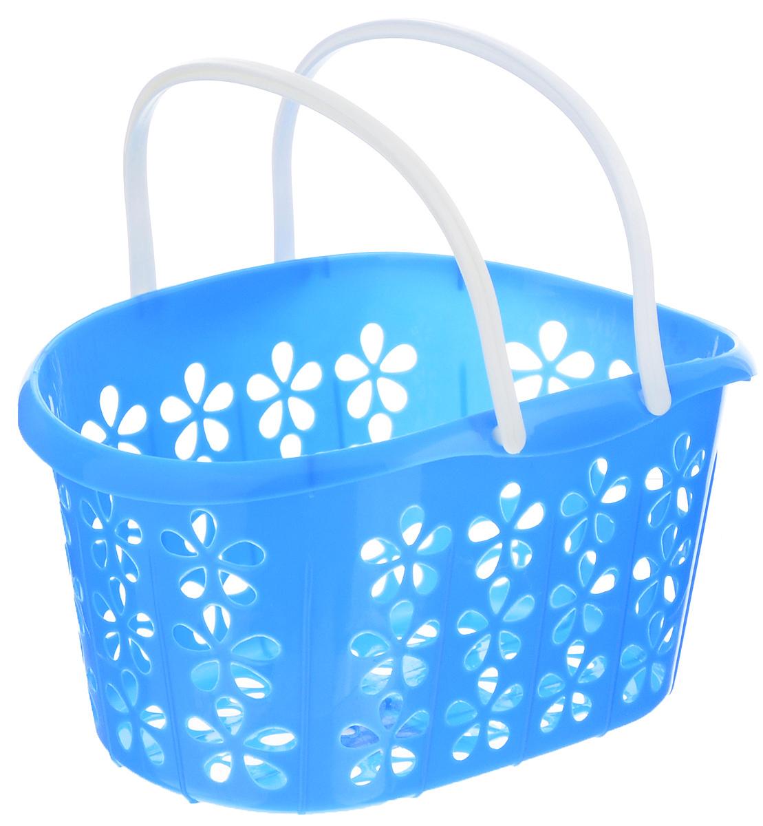 Корзинка Sima-land, с ручками, цвет: голубой, белый, 22,5 х 16,5 х 12 см139077_голубой, белыйКорзинка Sima-land, изготовленная из высококачественного прочного пластика, предназначена для хранения мелочей в ванной, на кухне, даче или гараже. Изделие оснащено двумя удобными складными ручками.Это легкая корзина с оригинальной перфорацией, жесткой кромкой и небольшими отверстиями позволяет хранить вещи в одном месте, исключая возможность их потери.