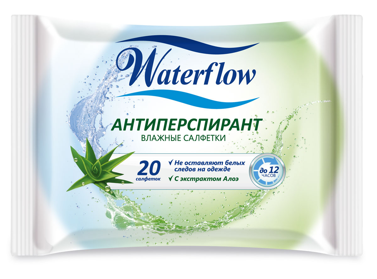Waterflow Влажные освежающие салфетки Антиперспирант, 20 шт4985Содержат натуральные экстракты полезных растений; Удобный для использования размер салфетки 14x20см; Изготовлены из мягкого,нежного для кожи материала Spunlace (спанлейс), который хорошо очищает кожу; При использовании салфетки не оставляют волокон на коже, т.к. материал произведен по технологии Hydro Jet; Не содержат спирт. Благодаря своему составу поддерживают естественный уровень pH, не вызывают сухости кожи при использовании; Для обеспечения гигиеничности продукции фасовка осуществляется без применения ручного труда; Клеевой клапан помогает сохранить потребительские свойства продукта даже после вскрытия. Салфетки не высыхают и не теряют запаха