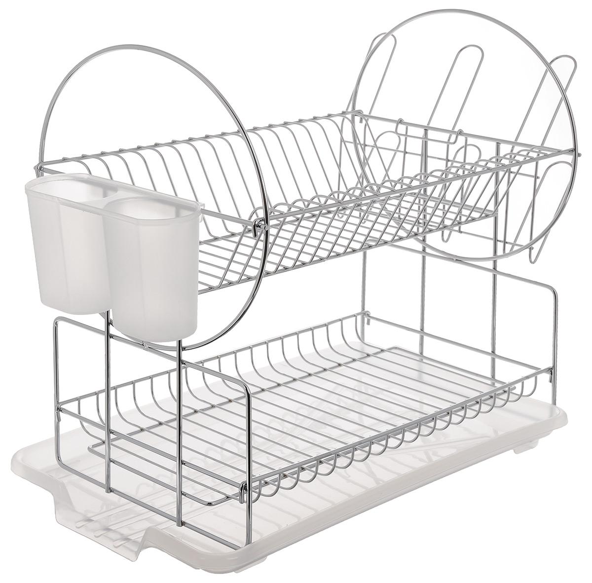 Сушилка для посуды Mayer & Boch, цвет: белый, серебристый, 42 х 22 х 35 см23216Сушилка для посуды Mayer & Boch изготовлена из высококачественных гигиеничных материалов. Корпус выполнен из хромированного металла, поддон и подставка для столовых приборов - из полипропилена. Сушилка двухъярусная, что позволяет хранить больше посуды. Внизу можно поместить кружки и пиалы, а вверху - тарелки и столовые приборы. Сбоку предусмотрены специальные держатели для стаканов. Прямоугольный поддон для воды поможет вам сохранить кухню в чистоте. Элегантный дизайн позволит сушилке Mayer & Boch стать прекрасным дополнением интерьера кухни.