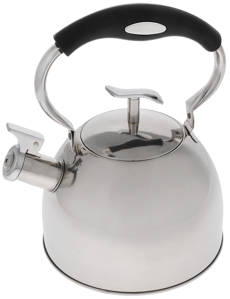 Чайник Mayer & Boch, со свистком, цвет: серебристый, черный, 3 л. 41274127_черная ручкаЧайник Mayer & Boch выполнен из высококачественной нержавеющей стали с зеркальной полировкой, что делает его гигиеничным и устойчивым к износу при длительном использовании. Нержавеющая сталь не окисляется и не впитывает запахи, напитки всегда ароматные и имеют настоящий вкус. Капсулированное дно с прослойкой из алюминия обеспечивает наилучшее распределение тепла. Носик чайника оснащен насадкой-свистком, что позволит вам контролировать процесс подогрева или кипячения воды. Подвижная ручка изготовлена из нейлона с силиконовым покрытием. Поверхность чайника гладкая, что облегчает уход. Эстетичный и функциональный, с эксклюзивным дизайном, такой чайник будет оригинально смотреться в любом интерьере.Подходит для электрических, газовых, стеклокерамических и галогеновых плит. Не подходит для индукционных плит. Можно мыть в посудомоечной машине.Высота чайника (без учета ручки и крышки): 13 см.Высота чайника (с учетом ручки и крышки): 26 см.Диаметр чайника (по верхнему краю): 10 см.