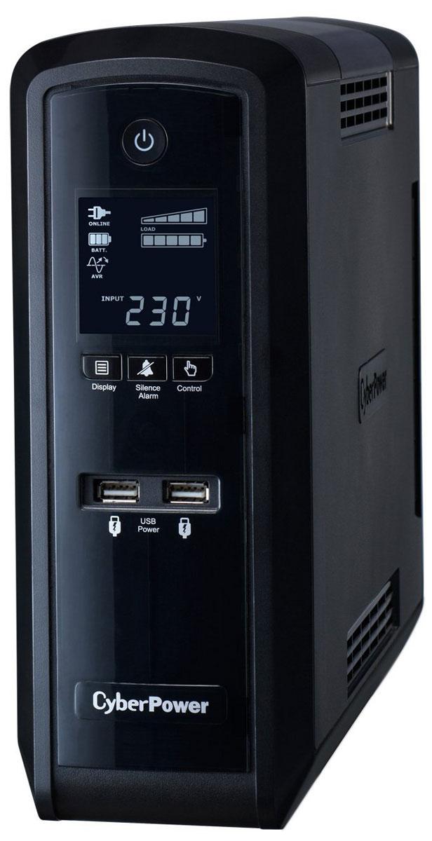 CyberPower CP1500EPFCLCD 1500VA/900W линейно-интерактивный ИБПCP1500EPFCLCDИсточник бесперебойного питания CyberPower CP1500EPFCLCD предназначен для защиты компьютерного оборудования и вспомогательной техники от основных неполадок с электропитанием: скачков и исчезновения напряжения в сети, радиочастотных помех и высоковольтных выбросов. Модель снабжена специальным программным обеспечением, информативным дисплеем и системой звуковой сигнализации, оповещающей об изменениях, связанных с работой прибора, что позволяет контролировать состояние устройства. Многофункциональный ЖК-дисплей обеспечивает быстрый доступ к точной информации о питании и батарее. Программное обеспечение PowerPanel демонстрирует широкие возможности ИБП, такие как вход / выход напряжения, самодиагностика, и приблизительное время резерва аккумулятора.С энергосберегающий технологией, адаптивная серия PFC Sinewave экономит до 75% электроэнергии, следовательно, и расходы на оплату электричества. Кроме того, ИБП данной серии допускают возможность самостоятельной замены батареи без необходимости обращения к специалистам.Время перехода на батареи: 4 мсТип батареи: 2 x 12В 8,5АчЗащита телефонной линии/локальной сетиВремя работы при полной нагрузке: 2 минВремя работы в резервном режиме при нагрузке 50%: 9 минутИнтерфейсы: RJ-11/45, USB (Type B), USB 2.0Время зарядки аккумуляторной батареи: 8 часовВыходные разъёмы: 6 x Schuko (розетки евростандарт с заземлением)Поддержка ОС: Windows 8, Windows 7, Windows Vista, Windows XP, Windows Server 2012, Windows Server 2008, Windows Server 2003, Linux