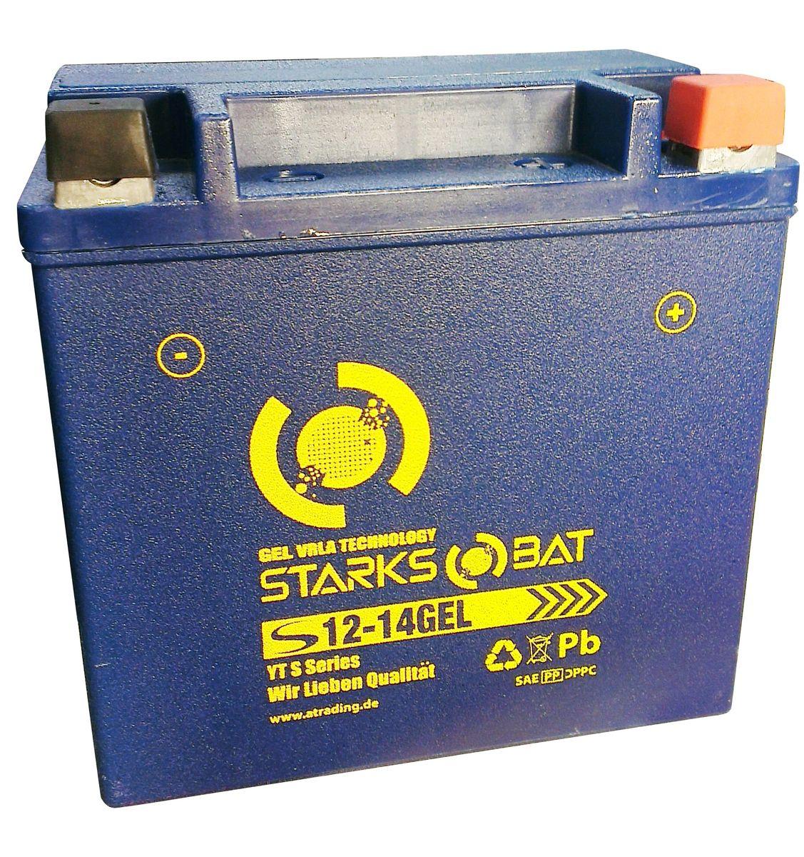 Батарея аккумуляторная для мотоциклов Starksbat. YT S 12-14 GEL (YTX14L-BS)YT S 12-14YT S 12-14 GEL (YTX14L-BS) Аккумуляторы для мотоциклов STARKSBAT производятся немецким концерном Active Trading GmbH. Аккумуляторы STARKSBAT изготовлены по технологии AGM, обеспечивающей повышенный уровень безопасности батареи и удобство ее эксплуатации. Корпус АКБ STARKSBAT выполнен из особо ударопрочного и морозостойкого полипропилена. Аккумуляторы STARKSBAT длительное время успешно продаются в США и Канаде, где блестяще доказали свои высокие эксплуатационные свойства в самых экстремальных условиях бездорожья, высоких и низких температур. Аккумуляторные батареи STARKSBAT производятся под знаменитым Немецким контролем качества, что обеспечивает им высокие пусковые характеристики и восстановление емкости даже после глубокого разряда.YT S 12-14GEL Technology (YTX14L-BS)Параметры аккумулятора:Напряжение (В): 12 Емкость (А/Ч): 14 Размеры (мм): 150x87x145 Полярность: Обратная (-+) Ток холодной прокрутки: 220 Аh (EN)Корпус АКБ STARKSBAT выполнен из особо ударопрочного и морозостойкого полипропилена
