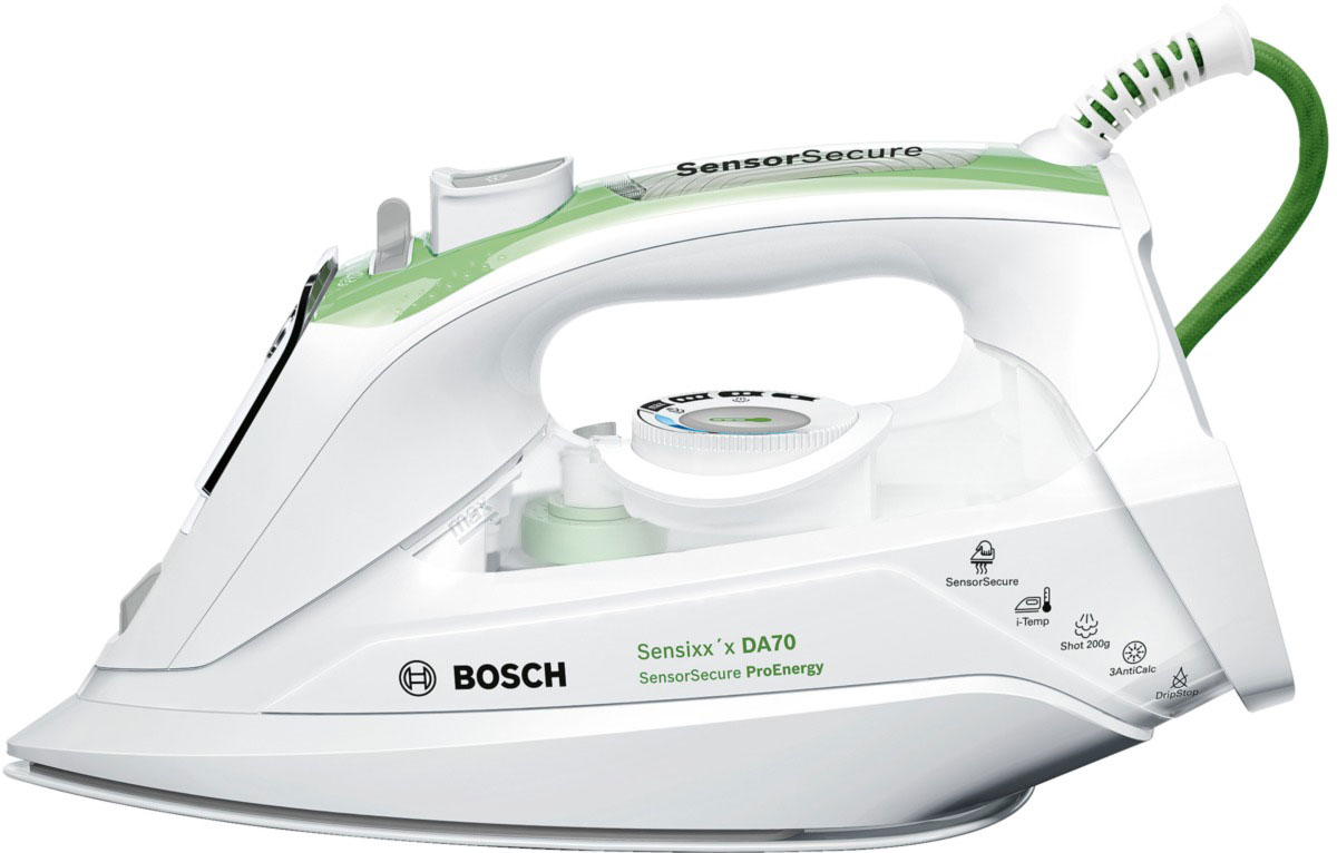 Bosch TDA 702421E, White Green утюгTDA702421EУтюг Bosch TDA 702421E оснащен сенсорной системой безопасности: при касании ручки утюг включается, при отсутствии контакта с утюгом, он отключен. Анодированная алюминиевая подошва с эмалевыми линиями CeraniumGlissee способствует быстрому нагреву и отличному скольжению. Мощность Bosch TDA 702421E достигает 2400 Вт, что позволяет качественно гладить даже тяжелые и сложные ткани, а заостренный носик поможет разгладить складки между пуговицами и швами. Предусматривается вместительный резервуар для воды на 380 мл, позволяющий долгое время использовать режим отпаривания. Простой уход за пересушенными вещами гарантируется благодаря функции разбрызгивания, а также паровому удару.