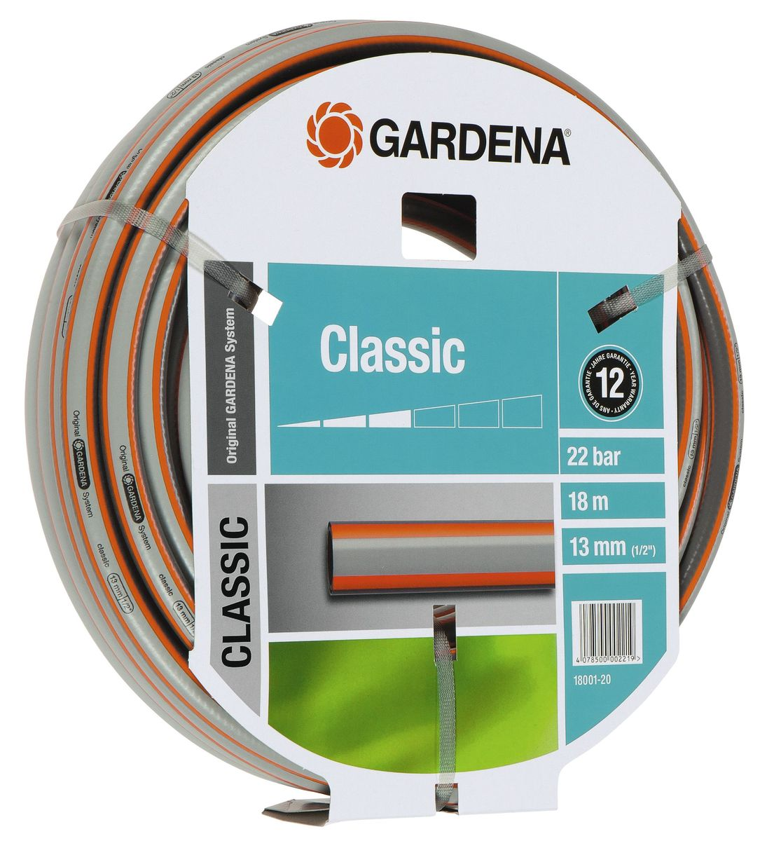 Шланг Gardena Classic, 13 мм (1/2) х 18 м18001-20.000.00Шланг Gardena Classic, прекрасно сохраняет свою форму благодаря высококачественному текстильному армированию, отсутствуют фталаты и тяжелые металлы, невосприимчив к УФ-излучению. Шланг не перегибается, не спутывается, не перекручивается, благодаря спиралевидному текстильному армированию, усиленному углеродными волокнами. Шланг Gardena Classic оптимально сочетается с компонентами базовой системы полива. Идеально подходит для умеренной интенсивности использования. Шланг Gardena Classic выполнен из высококачественного ПВХ и выдерживает давление до 22 бар. Толстые стенки шланга и высококачественные материалы обеспечивают длительный срок службы.