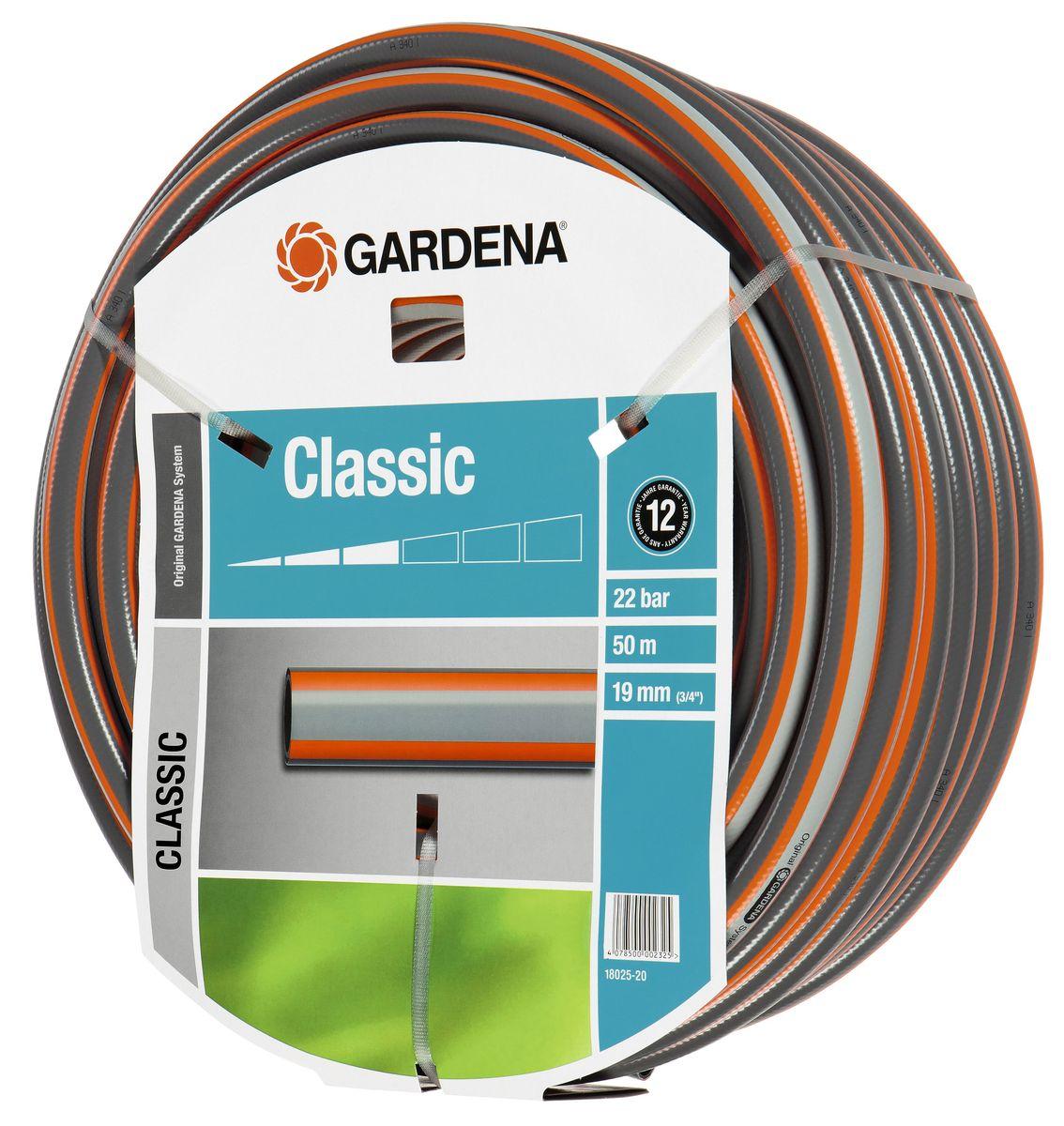 Шланг Gardena Classic, 19 мм (3/4) х 50 м18025-20.000.00Шланг Gardena Classic, прекрасно сохраняет свою форму благодаря высококачественному текстильному армированию, отсутствуют фталаты и тяжелые металлы, невосприимчив к УФ-излучению. Шланг не перегибается, не спутывается, не перекручивается, благодаря спиралевидному текстильному армированию, усиленному углеродными волокнами. Шланг Gardena Classic оптимально сочетается с компонентами базовой системы полива. Идеально подходит для умеренной интенсивности использования. Шланг Gardena Classic выполнен из высококачественного ПВХ и выдерживает давление до 22 бар. Толстые стенки шланга и высококачественные материалы обеспечивают длительный срок службы.