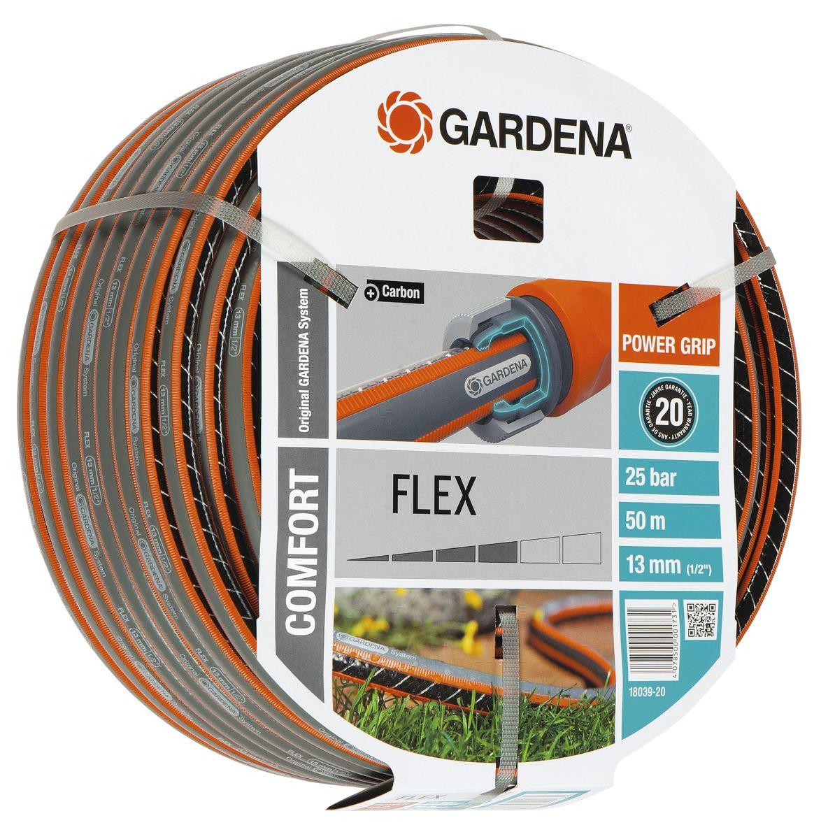 Шланг Gardena Flex, диаметр 1/2, длина 50 м18039-20.000.00Шланг Gardena Flex с ребристым профилем Power Grip подходит для идеального соединения с коннекторами базовой системы полива. Устойчив к высокому давлению и сохраняет формы благодаря спиралевидному текстильному армированию, усиленному углеродом.Не перегибается, не спутывается.