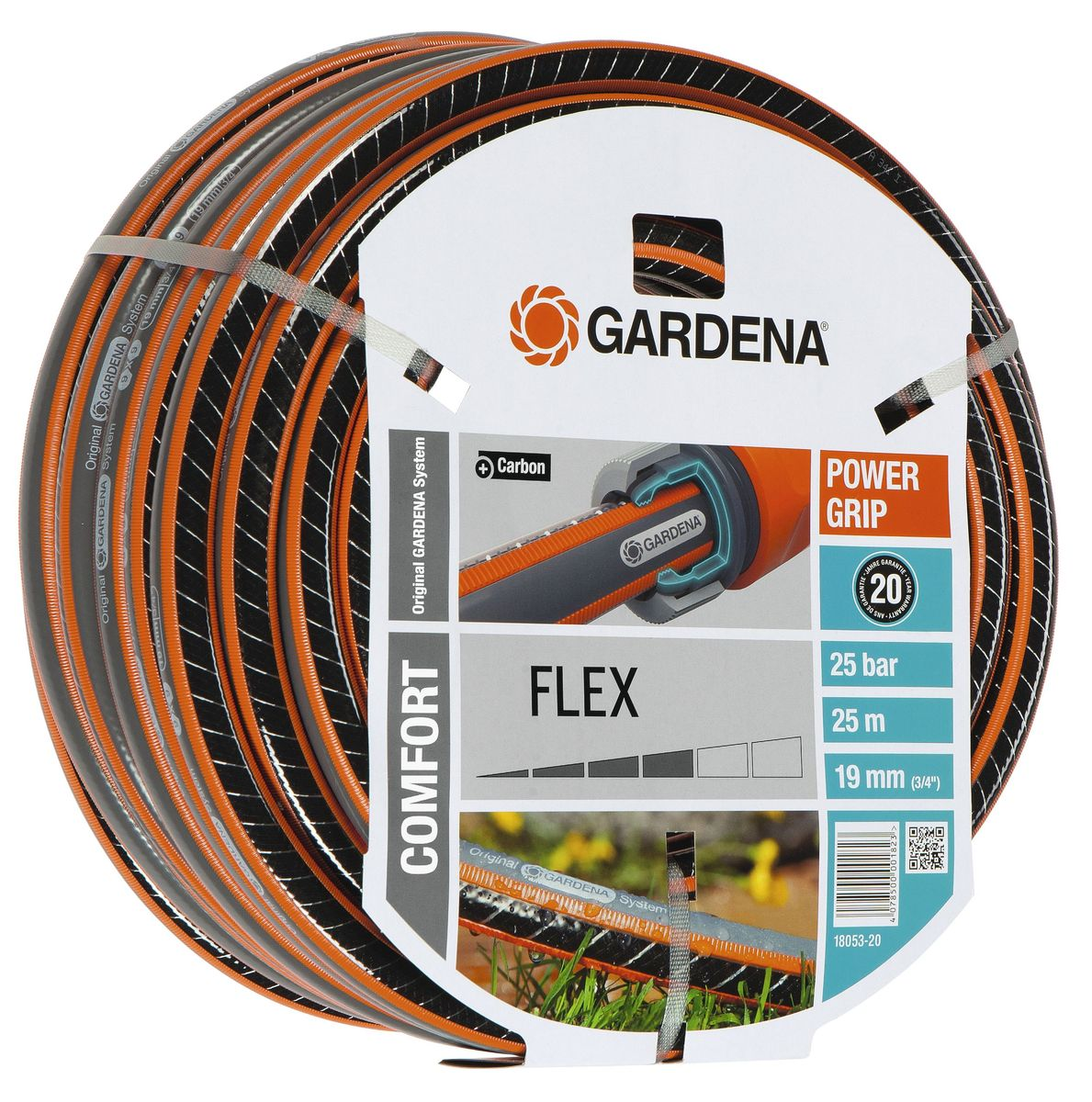 Шланг Gardena Flex, диаметр 3/4, длина 25 м18053-20.000.00Шланг Gardena Flex с ребристым профилем Power Grip для идеального соединения с коннекторами базовой системы полива. Устойчив к высокому давлению и сохраняет формы благодаря спиралевидному текстильному армированию, усиленному углеродом.Не перегибается, не спутывается.