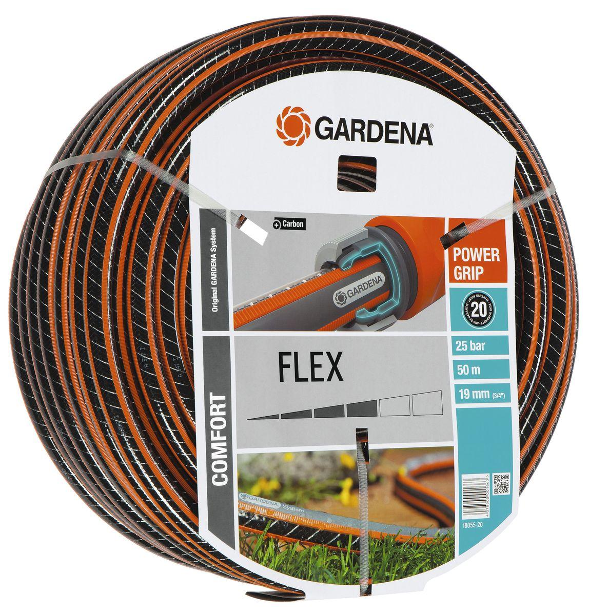 Шланг Gardena Flex, диаметр 3/4, длина 50 м18055-20.000.00Шланг Gardena Flex с ребристым профилем Power Grip предназначен для идеального соединения с коннекторами базовой системы полива. Устойчив к высокому давлению и сохраняет формы благодаря спиралевидному текстильному армированию, усиленному углеродом.Не перегибается, не спутывается.