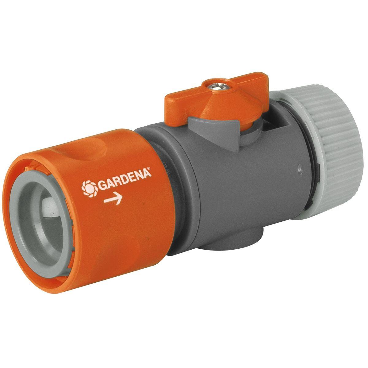 Коннектор с регулятором Gardena, 1/22.645-226.0Коннектор Gardena это ручной регулятор интенсивности и отключения воды. Удобен при смене насадок без выключения крана, особенно для систем с большим напором.