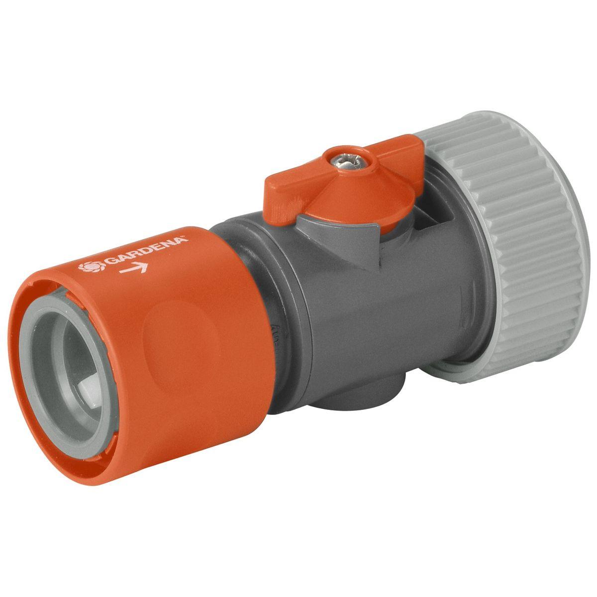 """Коннектор с регулятором Gardena, 3/402943-29.000.00Коннектор Gardena это ручной регулятор интенсивности и отключения воды. Удобен при смене насадок без перекрытия крана, особенно для систем с большим напором. Для шлангов диаметром 19 мм (3/4"""") ."""
