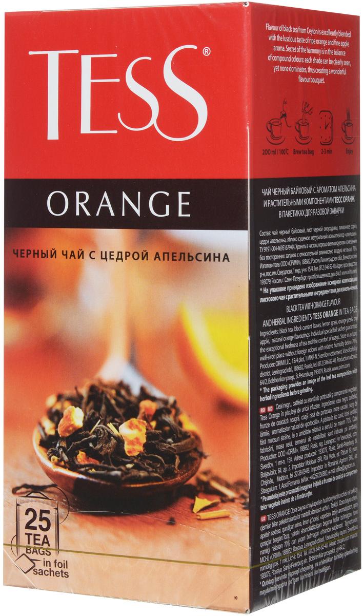 Tess Orange черный чай в пакетиках, 25 шт bismillah green черный чай в пакетиках 25 шт