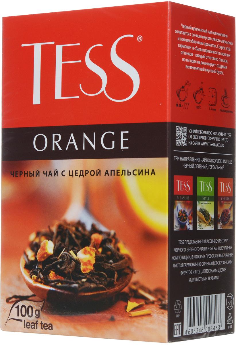 Tess Orange черный листовой чай, 100 г0646-15Черный листовой чай Tess Orange - это освежающий черный чай с листом черной смородины, цедрой апельсина, сушеным яблоком. В яркой композиции Tess Orange насыщенный вкус черного чая гармонично сочетается с оттенками апельсина и яблока. Свежий аромат личи и тонкие ноты черной смородины вносят завершающий штрих в богатую вкусовую гамму.