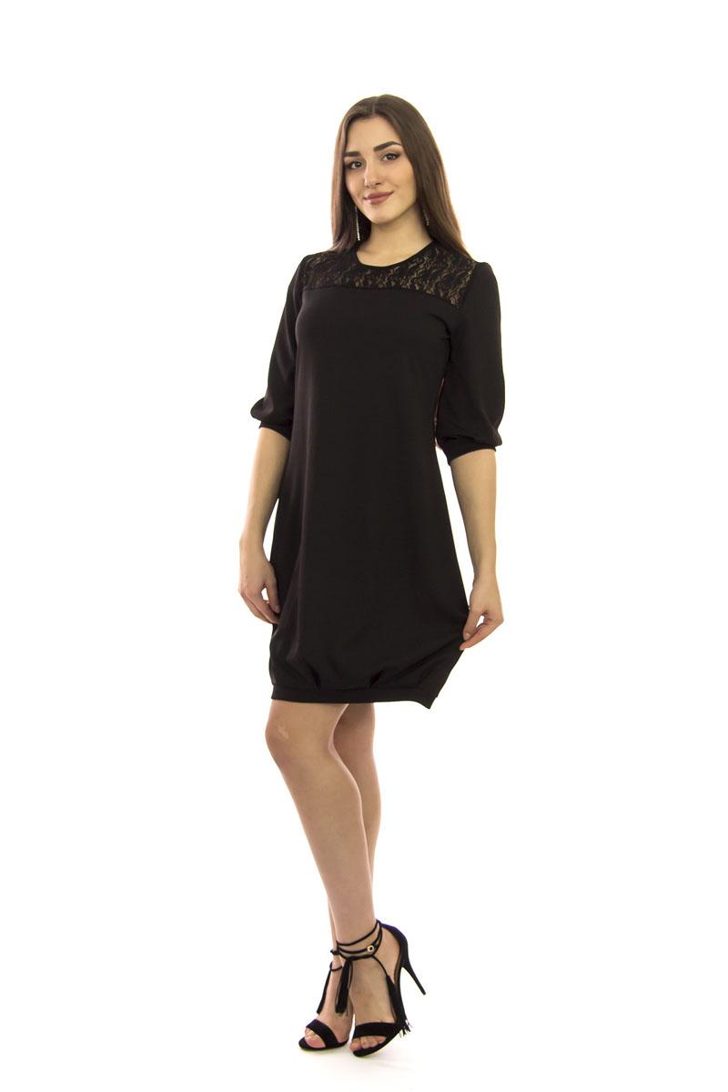 Платье Lautus, цвет: черный. 756. Размер 46756Элегантное платье Lautus выполнено из высококачественного эластичного полиэстера с добавлением вискозы. Оно обеспечит вам комфорт и удобство при носке.Модель свободного кроя с рукавами 1/2 и круглым вырезом горловины по кокетке декорирована кружевной вставкой. Рукава и низ изделия дополнены вставками. Модель прекрасно сочетается с различными аксессуарами. Это модное и удобное платье станет превосходным дополнением к вашему гардеробу, оно подарит вам удобство и поможет вам подчеркнуть свой вкус и неповторимый стиль. Отлично подойдет как для повседневного использования, так и для вечеринки.