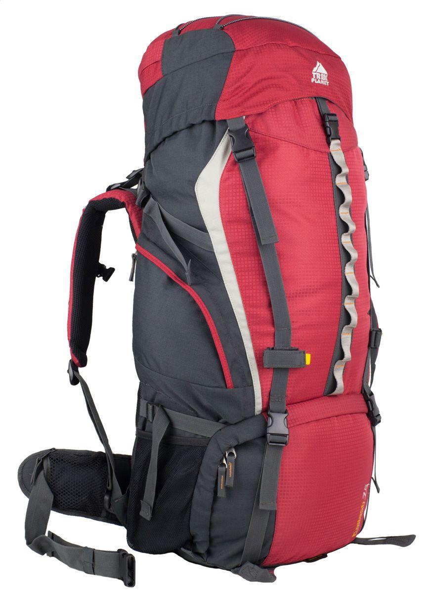 Рюкзак туристический Trek Planet Kailash 75, цвет: красный70563Многофункциональный туристический рюкзак Trek Planet Kailash 75 прекрасно подходит для длительных путешествий и кемпинга. Большие карманы по бокам и внизу рюкзака, например, для часто используемых походных принадлежностей. Анатомическая вентилируемая спина обеспечивает максимальный комфорт и стабилизацию рюкзака на спине. Оптимальное распределение нагрузки на бедра выполняет регулируемая система жесткой подвески V1. Эргономичные плечевые ремни и комфортная подкладка на спинке рюкзака идеально распределяют вес. Объем рюкзака регулируется вертикальными и горизонтальными стропами. Особенности рюкзака: - 2 глубоких кармана на молнии по бокам, - 2 боковых сетчатых кармана на резинке, - 2 кармана на молнии на поясном ремне, - Алюминиевые параллельные съемные латы жесткости,- Основной отсек рюкзака имеет разделительную съемную заслонку на застежке-молнии, - Дополнительные лямки внизу для крепления снаряжения, - Карман в верхнем клапане, - Эластичные петли на верхнем клапане, - Компрессионные ремни, - Съемный чехол от дождя.
