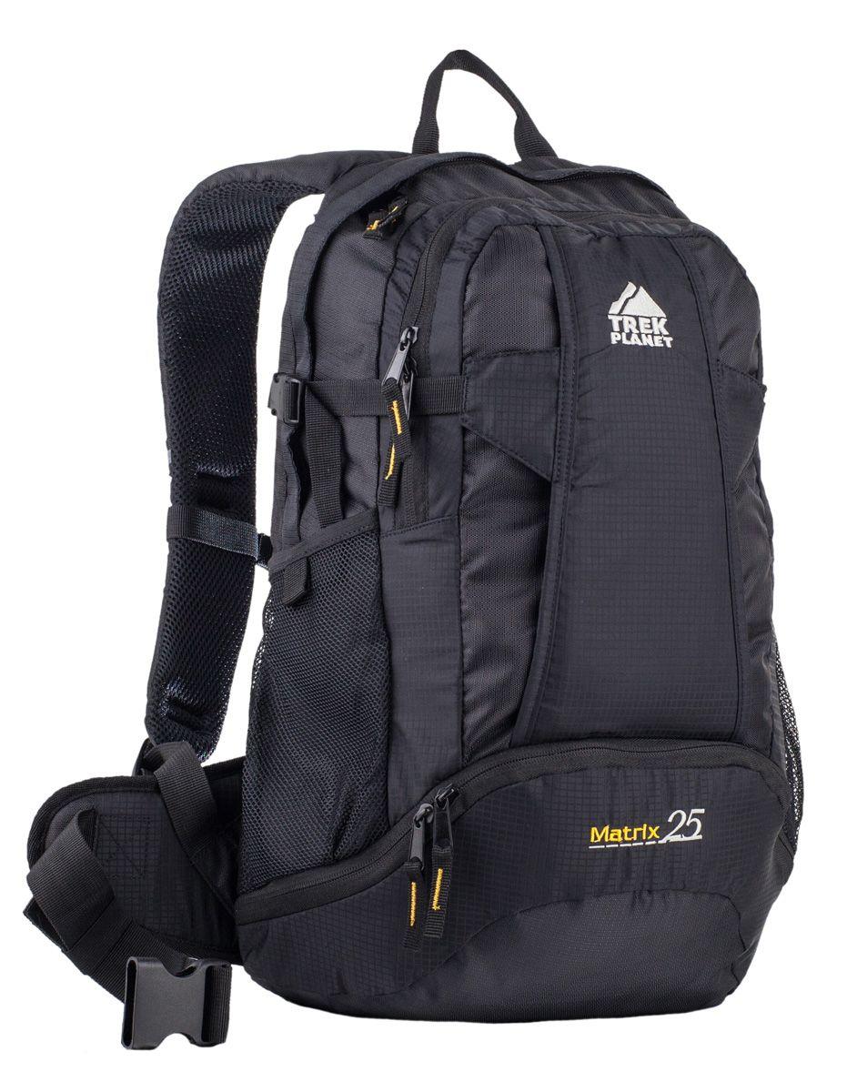 Рюкзак спортивный Trek Planet Matrix 25, цвет: черный70522Удобный спортивный рюкзак Trek Planet Matrix 25 прекрасно подходит для путешествий или велопробегов. Анатомические S-образные лямки рюкзака и вентилируемая подвесная система не стесняют движений, а широкий мягкий поясной ремень обеспечит комфортное прилегание к спине. Основное отделение снабжено отделением для нетбука или планшета. Боковые эластичные карманы, второе отделение с органайзером и дополнительными кармашками, куда можно убрать бумажник, ключи и документы. Особенности рюкзака: - Молнии и фурнитура высокого качества, - Регулируемый по высоте нагрудный ремень, - Два боковых кармана из сетки, - Второе отделение с органайзером и крючком для ключей, - Большой внешний карман внизу рюкзака, - Большой карман на молнии на передней стенке, - Отделение для нетбука или планшета, - Боковые компрессионные ремни для регулировки объема, - Широкий мягкий поясной ремень, - Светоотражатели.