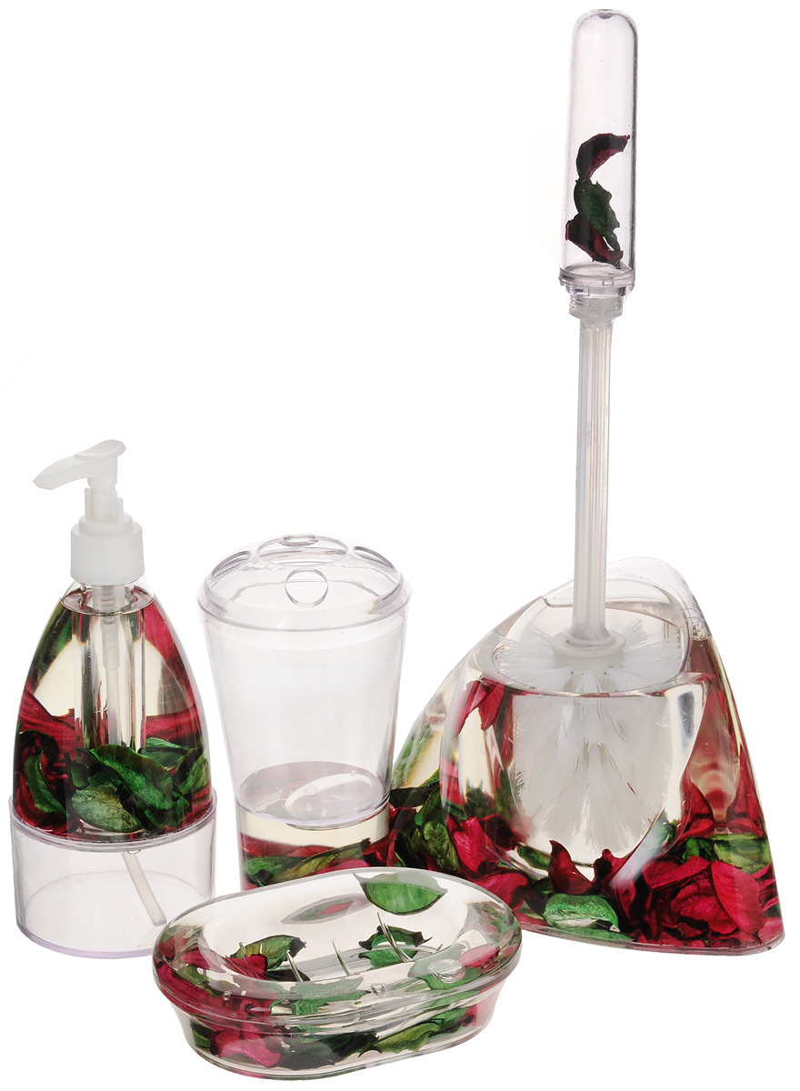Набор для ванной комнаты Mayer & Boch Лепестки, 5 предметов8647_лепесткиНабор для ванной комнаты Mayer & Boch Лепестки состоит из диспенсера для жидкого мыла, стакана для 4 зубных щеток и зубной пасты, мыльницы, ершика на подставке. Предметы набора выполнены из прозрачного пластика. Внутри - гелевый наполнитель с зелеными и бордовыми лепестками.Аксессуары, входящие в набор Mayer & Boch Лепестки, выполняют не только практическую, но и декоративную функцию. Они способны внести в помещение изысканность, сделать пребывание в ванне приятным и даже незабываемым. Размер стакана для щеток и пасты: 8 х 8 х 13,5 см. Размер диспенсера: 7,5 х 7,5 х 18,5 см. Объем диспенсера: 150 мл. Размер мыльницы: 13,5 х 9,5 х 3 см.Длина ершика: 32,5 см. Размер рабочей поверхности ершика: 7 х 7 х 8 см. Размер подставки для ершика: 17 х 12 х 11 см.