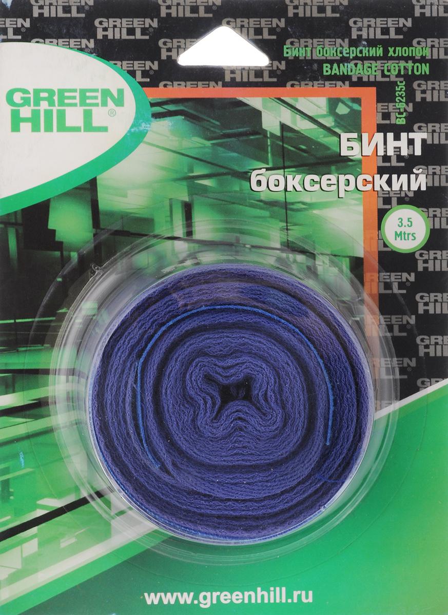 Бинт боксерский Green Hill, хлопок, цвет: синий, 3,5 мВС-6235-35Бинт Green Hill предназначен для защиты запястья во время занятий боксом. Изготовлен из высококачественного хлопка. Бинт надежно закрепляется на руке застежкой на липучке. Хорошо впитывает пот. Длина бинта: 3,5 м.Ширина бинта: 5 см.
