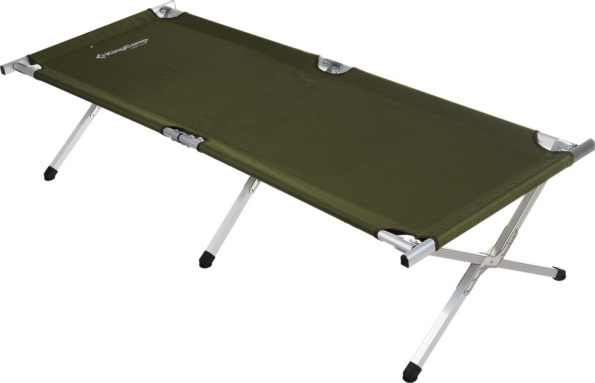 Кровать складная KingCamp Delux Army для кемпингаКС3806АСкладная кровать KingCamp Delux Army - это незаменимый предмет походной мебели, очень удобна в эксплуатации. Рама выполнена из алюминия, материал лежака - полиэстер. Кровать легко собирается и разбирается и не занимает много места, поэтому подходит для транспортировки и хранения дома. Кровать упакована в удобную сумку для переноски. Складная кровать прекрасно подойдет для комфортного отдыха на даче или в походе.Характеристики:Материал: алюминий, полиэстер 600x300D Oxford.Размер кровати: 190 см х 63 см х 42 см.Вес: 6 кг.Цвет: зеленый.Максимальная нагрузка:100 кг.Размер упаковки: 94 см х 18 см х 12 см.
