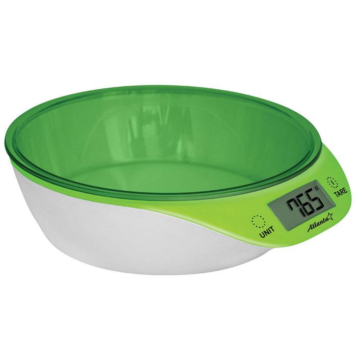Atlanta ATH-6200, Green весы кухонныеATH-6200Кухонные электронные весы Atlanta ATH-6200 - незаменимые помощники современной хозяйки. Они помогут точно взвесить любые продукты и ингредиенты. Кроме того, позволят людям, соблюдающим диету, контролировать количество съедаемой пищи и размеры порций. Предназначены для взвешивания продуктов с точностью измерения 1 грамм.Яркий дизайнСенсорные кнопкиФункция обнуления веса