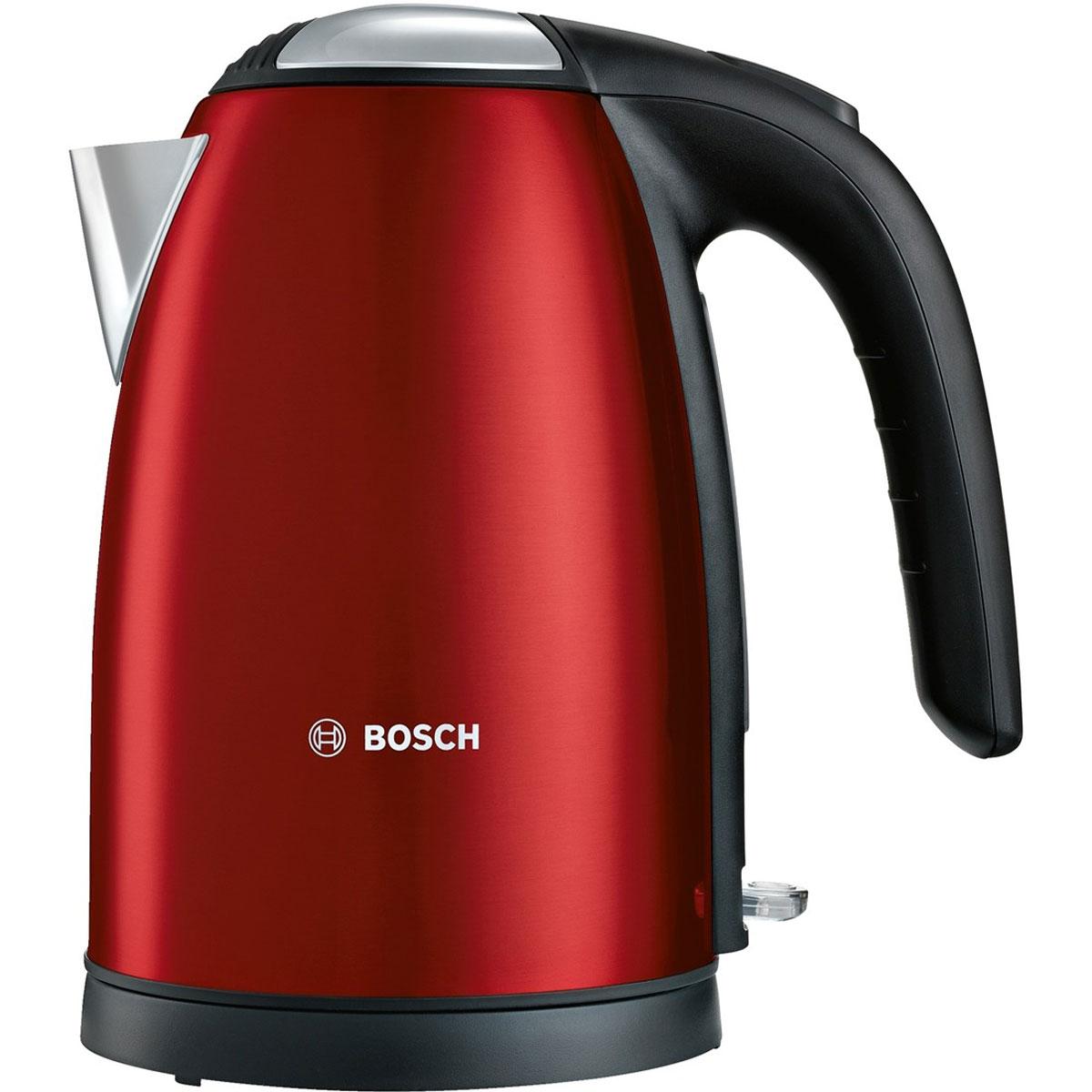 Bosch TWK 7804, Red чайникTWK7804Bosch TWK 7804 - компактный и надежный электрический чайник со скрытым нагревательным элементом из нержавеющей стали. Прибор оснащен съемным фильтром от накипи, что позволяет существенно продлить срок его использования. Цоколь с поворотом на 360° имеет центральный контакт. Также удобство в использовании обеспечивают функция автовыключения и защита от перегрева.