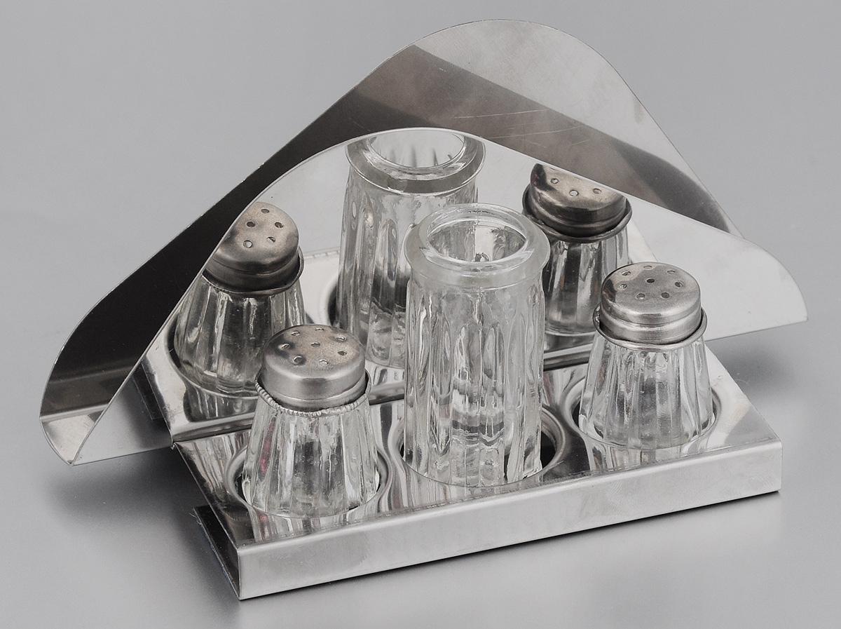 Набор для специй Mayer & Boch, на подставке, 4 предмета. 25302530Набор для специй Mayer & Boch выполнен из нержавеющей стали и стекла. Он состоит из солонки, перечницы, баночки для зубочисток и подставки, которая является салфетницой. Солонка и перечница легки в использовании: стоит только перевернуть емкости, и Вы с легкостью сможете поперчить или добавить соль по вкусу в любое блюдо. Набор для специй Mayer & Boch не только украсит стол, но и станет полезным аксессуаром как на кухне, так и за праздничным столом.Размер подставки-салфетницы: 17 х 8,5 х 8 см.Размер солонки/перечницы: 3 х 3 х 4,5.Размер баночки для зубочисток: 3 х 3 х 6,3 см.