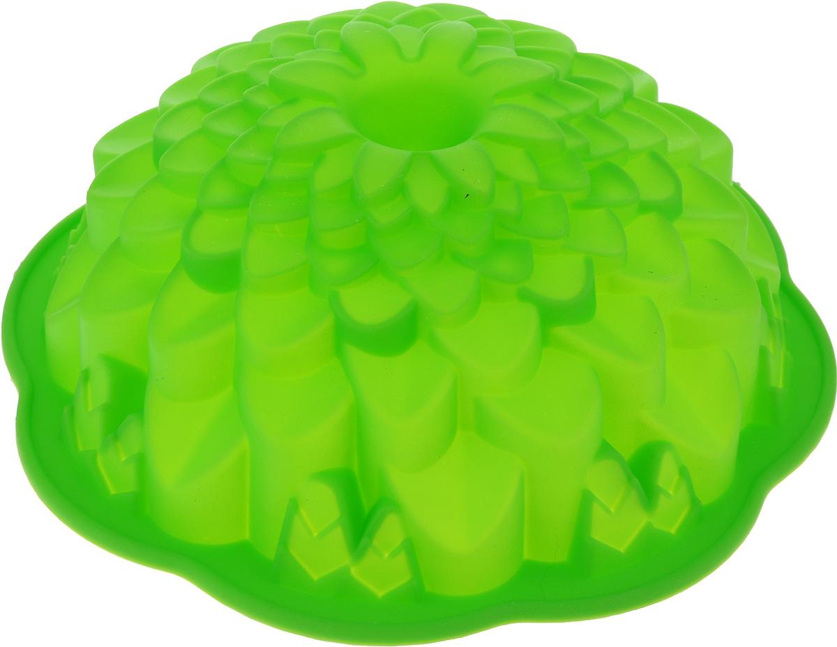 Форма для выпечки Marmiton Хризантема, цвет: зеленый, диаметр 21,5 см16045_зеленыйФигурная форма для выпечки Marmiton Хризантема будет отличным выбором для всех любителей бисквитов и кексов. Благодаря тому, что форма изготовлена из силикона, готовую выпечку или мармелад вынимать легко и просто.С такой формой вы всегда сможете порадовать своих близких оригинальной выпечкой. Материал устойчив к фруктовым кислотам, может быть использован в духовках, микроволновых печах и морозильных камерах (выдерживает температуру от +240°C до -40°C). Можно мыть и сушить в посудомоечной машине.Диаметр формы: 21,5 см.Высота формы: 7 см.
