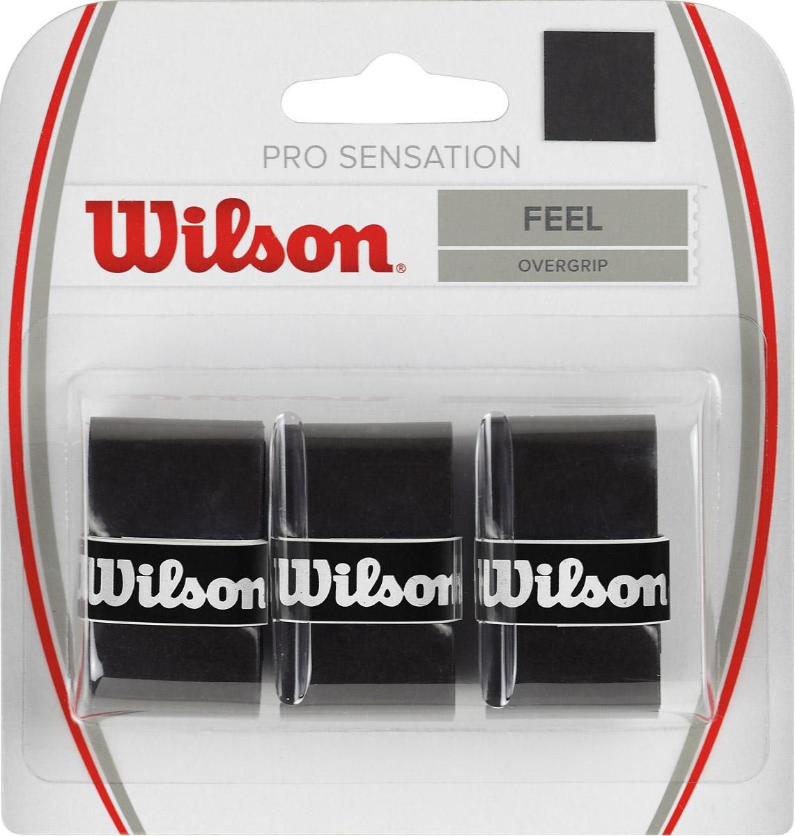 Намотка Wilson Pro Sensation, цвет: черный, 3 штWRZ4010BKНамотка Wilson Pro Sensation - самый тонкий грип в линейке Wilson. Он позволяет ощутить максимальный контроль ракетки, не увеличивая толщину ручки ракетки.