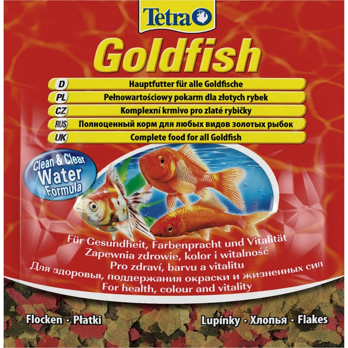 Корм для золотых рыбок Tetra Goldfish, хлопья, 12 г корм tetra goldfish flakes complete food for all goldfish хлопья для всех видов золотых рыбок 1л 204355