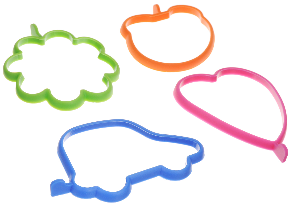 Набор форм для яичницы и оладьев из силикона - прекрасная возможность  сделать завтрак вашей семьи незабываемым приключением. Яичница или оладьи  в форме машинки, сердца, медведя или цветка наверняка придутся по вкусу даже  самому капризному малоежке. Формы просты в использовании — просто  положите форму на разогретую сковороду, разбейте яйцо или вылейте тесто  внутрь формы и жарьте до готовности придерживая форму лопаткой. В наборе 4  формы синего, зеленого, оранжевого и фиолетового цветов.  Не использовать в микроволновой печи. Средний размер форм: 11 х 5 х 1 см.