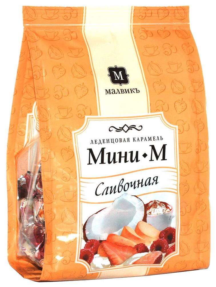 Малвикъ Мини-м Сливочное ассорти леденцовая карамель, 150 г14506Леденцовая карамель Малвикъ Мини-М - это вкусное и натуральное лакомство, наслаждаться которым можно практически бесконечно. Любители изысканных десертов оценят карамель со вкусом свежих фруктов и ягод со сливками, нежного капучино и кокоса.