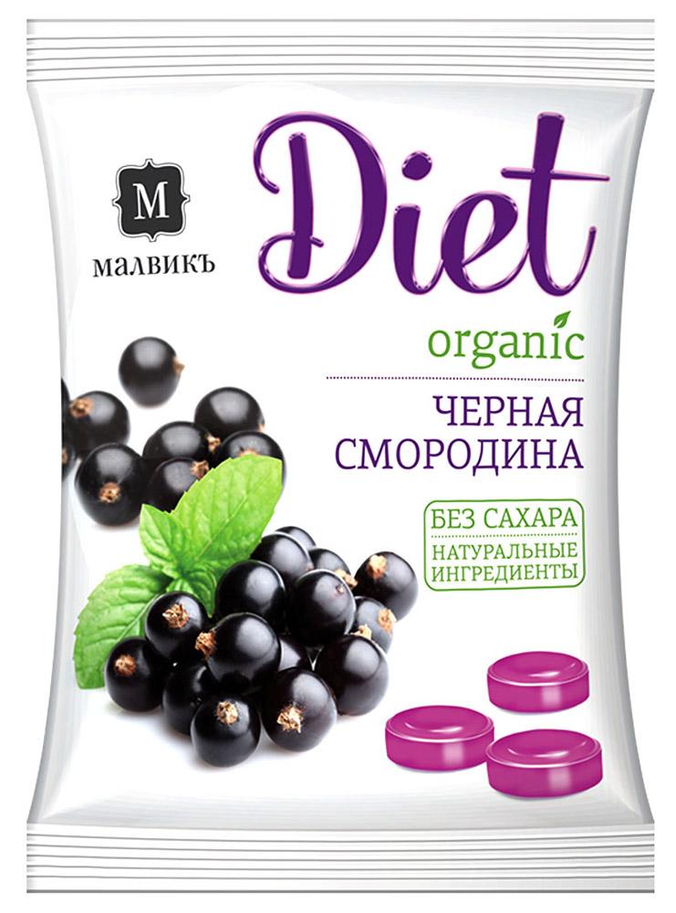 Малвикъ Diet Черная смородина карамель леденцовая без сахара на изомальте, 50 г