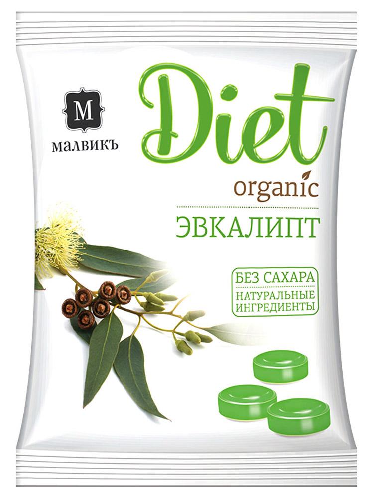 Малвикъ Diet Эвкалипт карамель леденцовая без сахара на изомальте, 50 г