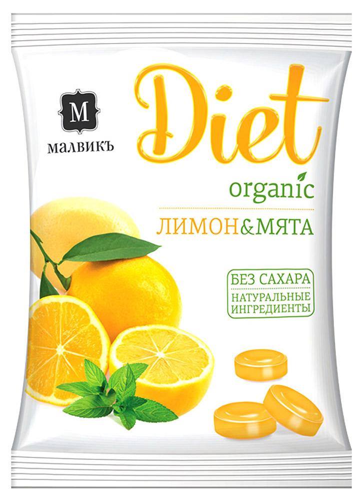 Малвикъ Diet Лимон и мята карамель леденцовая без сахара на изомальте, 50 г