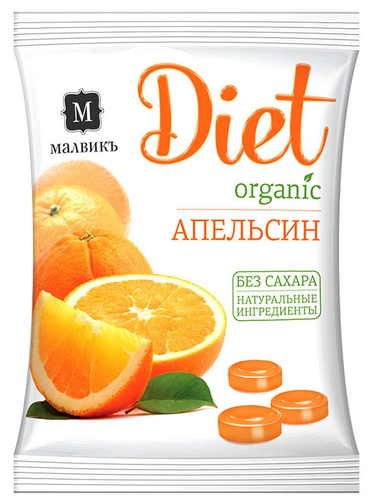 Малвикъ Diet Апельсин карамель леденцовая без сахара на изомальте, 50 г