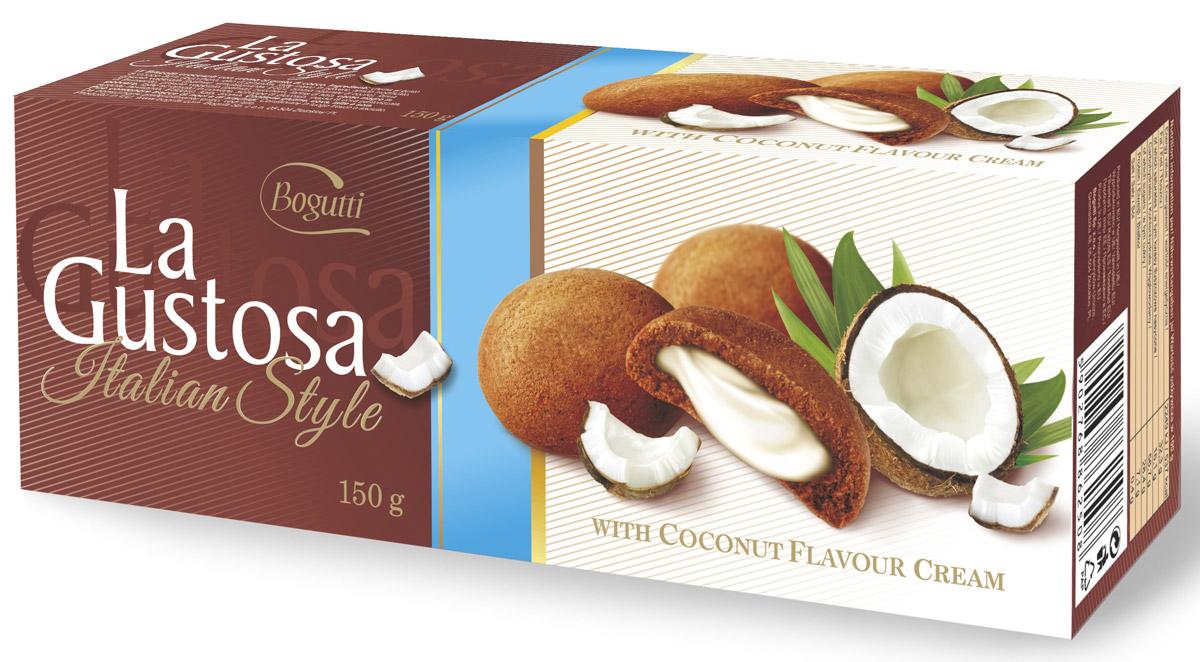 Bogutti La Gustosa печенье с кокосовым кремом, 150 г13934Bogutti La Gustosa - высококачественное сдобное печенье с кокосовой начинкой, приготовленное по лучшим итальянским технологиям, из тщательно отобранного сырья. Качество всех изделий отвечает высоким международным требованиям BRC, IFS, а сама выпечка выглядит аппетитно и привлекательно.