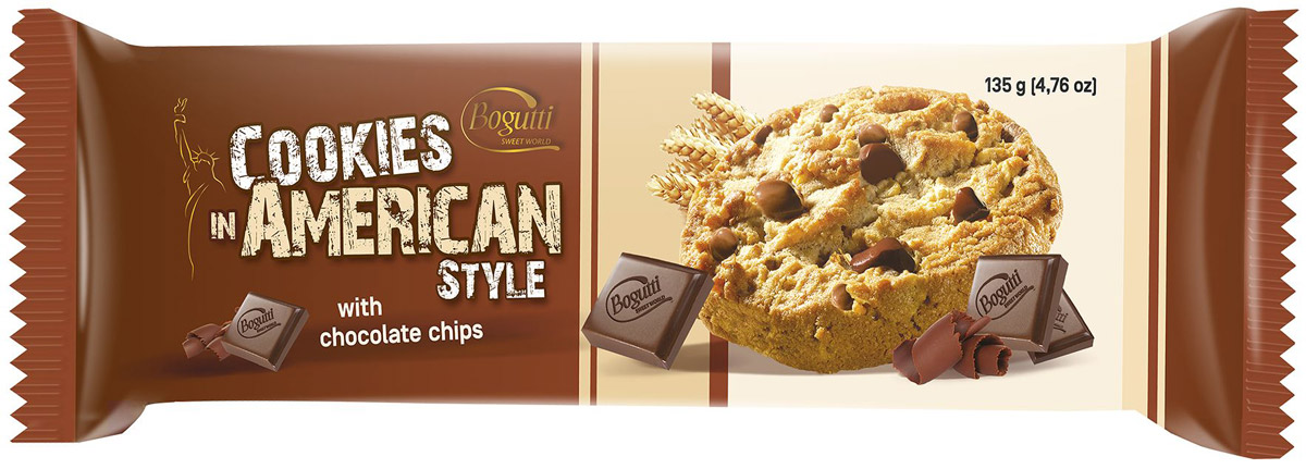Bogutti American Cookies печенье с крошкой темного и молочного шоколада, 135 г unibis pista badam cookies печенье с миндалем и фисташками 75 г