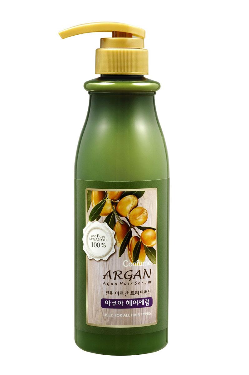 Confume Argan Аква сыворотка для волос аргановым маслом, 500 мл8803348012986Аква сыворотка увлажняет волосы, делая их гладкими и послушными. Позволяет сохранять блеск и форму укладки. Витамин Е и сок алоэ формируют барьер, который защищает волосы от повреждений и сухости. Подходит для сухих и жестких волос.Витамин Е и сок алоэ формируют барьер, который защищает волосы от повреждений и сухости.