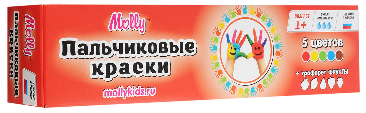 Molly Краски пальчиковые с трафаретом Фрукты 5 цветовFP-10Краски пальчиковые с трафаретом Фрукты Molly отлично подойдут для первого творчества малыша.Краски подходят для раннего обучения цветам, развития тонкой моторики, тактильного восприятия.Краски разработаны специально для рисования пальчиками или ладошками для детей от 1 года. В комплект входят 5 цветов (красный, желтый, зеленый, синий, коричневый), а также тематический трафарет, с помощью которого юный художник сможет дополнить свои композиции аккуратными рисунками фруктов.Краски нетоксичны.Состав: пищевой краситель, целлюлозный загуститель, глицерин, мел, консервант косметический, вода питьевая.