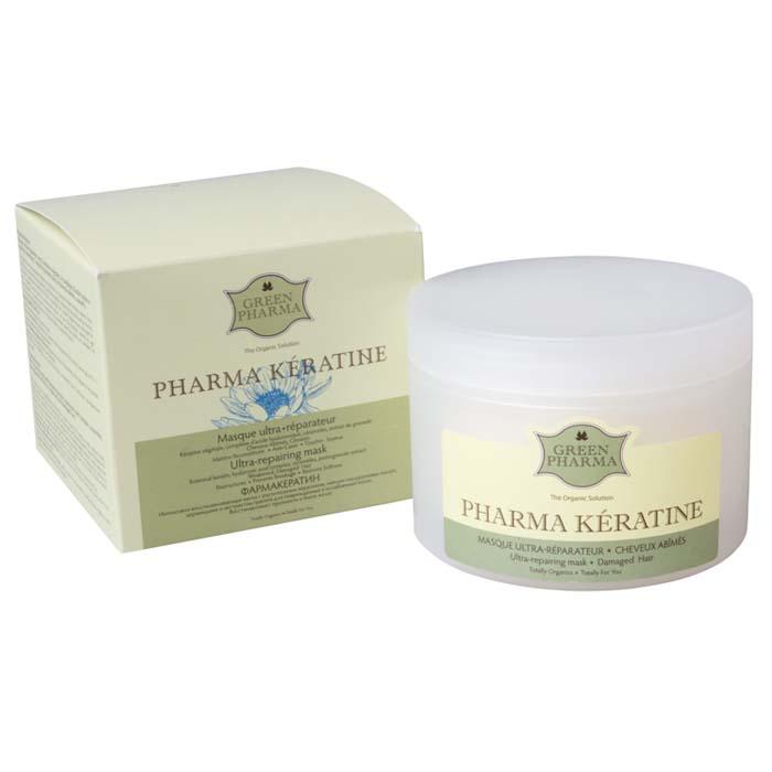 Greenpharma Фармакератин Интенсивно восстанавливающая маска с растительным кератином, смесью гиалуроновых кислот, церамидами и экстрактом граната для поврежденных и ослабленных волос, 250 мл7290GREENPHARMA-ФАРМАКЕРАТИН. Маска восстанавливает прочность и блеск волос на наиболее поврежденных участках. Проникая в глубину волос, растительный кератин восстанавливает их архитектуру. Взаимодействие 2-х типов гиалуроновой кислоты максимально эффективно удерживает влагу внутри волосяного ствола, обеспечивая его оптимальное увлажнение и одновременно придавая объем. Цирамиды восстанавливают гладкость и микроповреждения. Восстановленные волосы становятся более сильными, эластичными и шелковистыми.