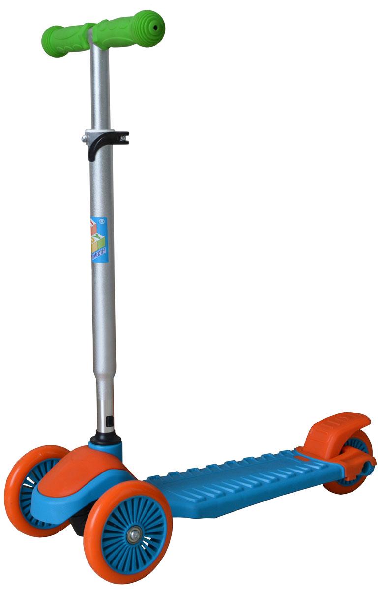 1TOY Самокат детский трехколесный цвет оранжевый голубой зеленый navigator самокат двуколесный цвет черный оранжевый