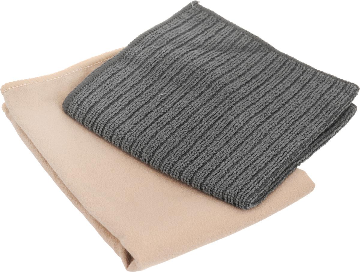 Салфетка чистящая Sapfire Cleaning Сloth & Suede, цвет: бежевый, серый, 35 х 40 см, 2 штRW642Благодаря своей уникальной ворсовой структуре,салфетки Sapfire Cleaning Сloth прекрасноподходят для мытья и полировки автомобиля. Материал салфеток: микрофибра (85% полиэстер и15% полиамид), обладает уникальной способностьюбыстро впитывать большой объем жидкости.Клиновидные микроскопические волокназахватывают и легко удерживают частички пыли,жировой и никотиновый налет, микроорганизмы, втом числе болезнетворные и вызывающиеаллергию. Протертая поверхность становится идеальночистой, сухой, блестящей, без разводов и ворсинок.Допускается машинная и ручная стирка слабым моющим раствором в теплой воде. Отбеливание и глажка запрещены. Размер салфеток: 35 х 40 см.
