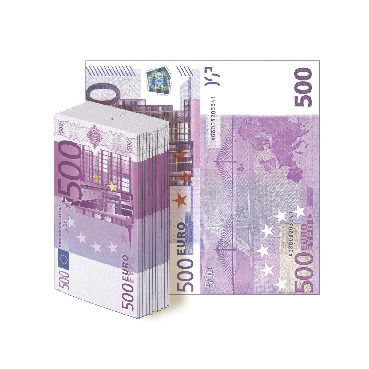 Салфетки бумажные Gratias 500 евро, трехслойные, 33 х 33 см, 12 шт91622Бумажные салфетки в виде купюр евро. Отличный выбор для оформления веселой вечеринки, подчеркнет ваше прекрасное чувствоюмора и добавит дополнительного антуража на ваш праздник. Размер салфеток: - в сложенном виде: 16 х 8 см; - в развернутом виде: 33 х 33 см.