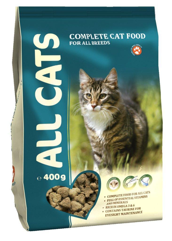 Корм сухой ALL CATS для взрослых кошек, 400 г6660Корм сухой ALL CATS - это полнорационный корм для взрослых кошек всех пород. Подходит в качестве полноценного питания, содержит жизненно важные витамины и минералы, а также специальные полезные добавки (таурин, биотин, селен, йод). Жирные кислоты Омега-3 и Омега-6, содержащиеся в составе, необходимы для здоровой кожи и красивой шерсти. Хрустящие гранулы угловатой формы поддерживают гигиену полости рта. Корм содержит аминокислоту таурин, которая помогает предотвратить дегенерацию сетчатки глаза, а также укрепляет иммунную систему кошки. Высокое содержание мяса - минимум 30% натурального дегидратированного мяса. Корм производится из высококачественного сырья, не содержит ГМО, сои и красителей. Состав: злаки, мясо и продукты животного происхождения, овощи, масла и жиры, рыба и рыбные субпродукты (источник Омега-3 и Омега-6 жирных кислот), минеральные вещества и витамины. Гарантируемые показатели: сырой протеин 30%, сырой жир 9%, сырая клетчатка 3%, сырая зола 7%, кальций 1,3%, фосфор 1,0%. Добавлено на 1 кг: Таурин 0,1%, Железо 80 мг, Медь 5 мг, Марганец 7,5 мг, Цинк 75 мг, Кобальт 0,05 мг, Йод 0,5 мг, Селен 0,1 мг, витамин А (Е 672) 5000 МЕ, витамин Е (альфа-токоферол) 50 мг, витамин D3 (Е671) 500 МЕ, витамин В1 (тиамин) 5 мг, витамин В2 (рибофлавин) 4 мг, витамин В3 (ниацин) 5 мг, витамин В4 (холин хлорид) 1200 мг, витамин В5 (пантотеновая кислота) 60 мг, витамин В6 (пиридоксин) 4 мг, витамин В9 (фолиевая кислота) 0,8 мг, витамин В12 0,02 мг, витамин Н (биотин) 0,2 мг. Энергетическая ценность: 340 ккал/100 г. Товар сертифицирован.