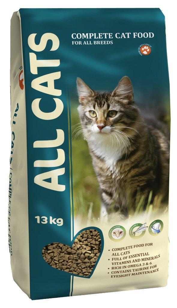 Корм сухой ALL CATS для взрослых кошек, 13 кг6684Корм сухой ALL CATS - это полнорационный корм для взрослых кошек всех пород. Подходит в качестве полноценного питания, содержит жизненно важные витамины и минералы, а также специальные полезные добавки (таурин, биотин, селен, йод). Жирные кислоты Омега-3 и Омега-6, содержащиеся в составе, необходимы для здоровой кожи и красивой шерсти. Хрустящие гранулы угловатой формы поддерживают гигиену полости рта. Корм содержит аминокислоту таурин, которая помогает предотвратить дегенерацию сетчатки глаза, а также укрепляет иммунную систему кошки. Высокое содержание мяса - минимум 30% натурального дегидратированного мяса. Корм производится из высококачественного сырья, не содержит ГМО, сои и красителей. Состав: злаки, мясо и продукты животного происхождения, овощи, масла и жиры, рыба и рыбные субпродукты (источник Омега-3 и Омега-6 жирных кислот), минеральные вещества и витамины. Гарантируемые показатели: сырой протеин 30%, сырой жир 9%, сырая клетчатка 3%, сырая зола 7%, кальций 1,3%, фосфор 1,0%. Добавлено на 1 кг: Таурин 0,1%, Железо 80 мг, Медь 5 мг, Марганец 7,5 мг, Цинк 75 мг, Кобальт 0,05 мг, Йод 0,5 мг, Селен 0,1 мг, витамин А (Е 672) 5000 МЕ, витамин Е (альфа-токоферол) 50 мг, витамин D3 (Е671) 500 МЕ, витамин В1 (тиамин) 5 мг, витамин В2 (рибофлавин) 4 мг, витамин В3 (ниацин) 5 мг, витамин В4 (холин хлорид) 1200 мг, витамин В5 (пантотеновая кислота) 60 мг, витамин В6 (пиридоксин) 4 мг, витамин В9 (фолиевая кислота) 0,8 мг, витамин В12 0,02 мг, витамин Н (биотин) 0,2 мг. Энергетическая ценность: 340 ккал/100 г. Товар сертифицирован.