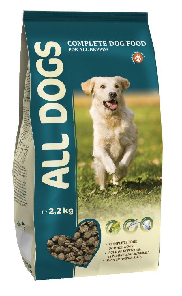 Корм сухой ALL DOGS для взрослых собак всех пород, 2,2 кг6721Корм сухой ALL DOGS - это полнорационный корм для собак всех пород. Идеально подходит в качестве полноценного питания, поскольку содержит жизненно важные витамины и минералы. Жирные кислоты Омега-3 и Омега-6, содержащиеся в составе, необходимы для здоровой кожи и красивой шерсти. Хрустящие гранулы угловатой формы поддерживают гигиену полости рта. Корм производится из высококачественного сырья, не содержит ГМО, сои и красителей. Состав: злаки, мясо и продукты животного происхождения, овощи, масла и жиры, рыба и рыбные субпродукты (источник Омега-3 и Омега-6 жирных кислот), минеральные вещества и витамины. Гарантируемые показатели: сырой протеин 22%, сырой жир 10%, сырая клетчатка 4%, сырая зола 8%, кальций 1,4%, фосфор 1,1%. Добавлено на 1 кг: Железо 75 мг, Медь 5 мг, Марганец 5 мг, Цинк 100 мг, Кобальт 0,5 мг, Йод 1 мг, Селен 0,2 мг, витамин А (Е 672) 15000 МЕ, витамин Е (альфа-токоферол) 50 мг, витамин D3 (Е671) 1500 МЕ, витамин В1 (тиамин) 4 мг, витамин В2 (рибофлавин) 3 мг, витамин В3 (ниацин) 7,5 мг, витамин В4 (холин хлорид) 100 мг, витамин В5 (пантотеновая кислота) 10 мг, витамин В6 (пиридоксин) 2,5 мг, витамин В9 (фолиевая кислота) 0,5 мг, витамин В12 0,015 мг, витамин Н (биотин) 0,3 мг.Энергетическая ценность: 327 ккал/100 г. Товар сертифицирован.