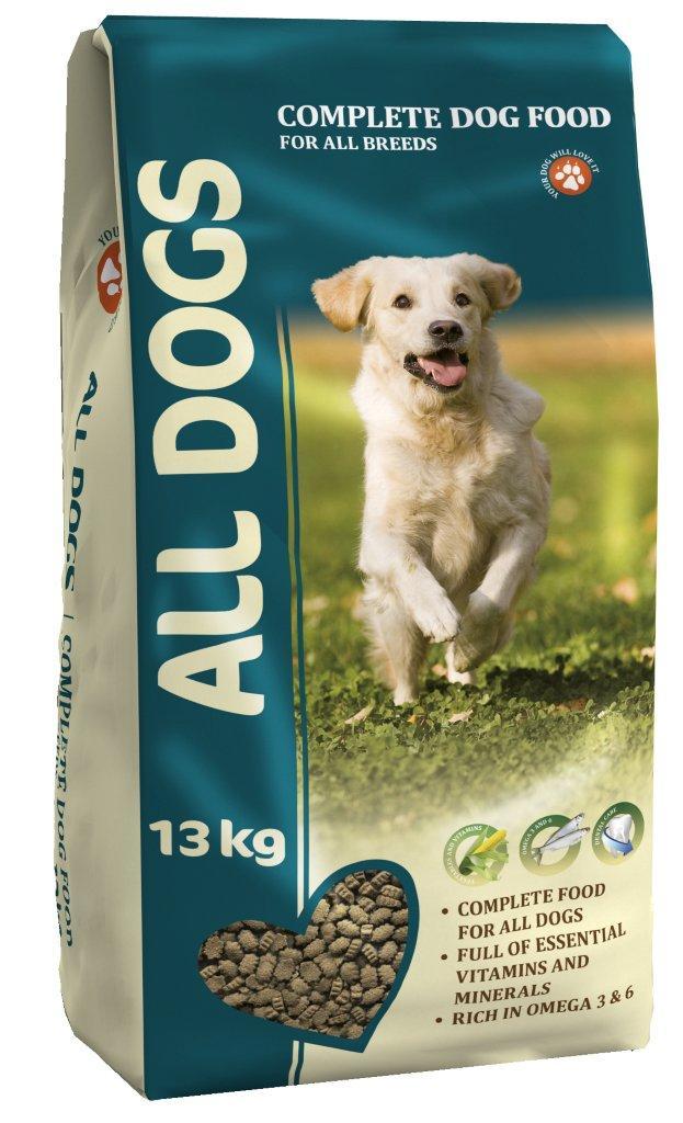 Корм сухой ALL DOGS для взрослых собак всех пород, 13 кг6738Корм сухой ALL DOGS - это полнорационный корм для собак всех пород. Идеально подходит в качестве полноценного питания, поскольку содержит жизненно важные витамины и минералы. Жирные кислоты Омега-3 и Омега-6, содержащиеся в составе, необходимы для здоровой кожи и красивой шерсти. Хрустящие гранулы угловатой формы поддерживают гигиену полости рта. Корм производится из высококачественного сырья, не содержит ГМО, сои и красителей. Состав: злаки, мясо и продукты животного происхождения, овощи, масла и жиры, рыба и рыбные субпродукты (источник Омега-3 и Омега-6 жирных кислот), минеральные вещества и витамины. Гарантируемые показатели: сырой протеин 22%, сырой жир 10%, сырая клетчатка 4%, сырая зола 8%, кальций 1,4%, фосфор 1,1%. Добавлено на 1 кг: Железо 75 мг, Медь 5 мг, Марганец 5 мг, Цинк 100 мг, Кобальт 0,5 мг, Йод 1 мг, Селен 0,2 мг, витамин А (Е 672) 15000 МЕ, витамин Е (альфа-токоферол) 50 мг, витамин D3 (Е671) 1500 МЕ, витамин В1 (тиамин) 4 мг, витамин В2 (рибофлавин) 3 мг, витамин В3 (ниацин) 7,5 мг, витамин В4 (холин хлорид) 100 мг, витамин В5 (пантотеновая кислота) 10 мг, витамин В6 (пиридоксин) 2,5 мг, витамин В9 (фолиевая кислота) 0,5 мг, витамин В12 0,015 мг, витамин Н (биотин) 0,3 мг.Энергетическая ценность: 327 ккал/100 г. Товар сертифицирован.