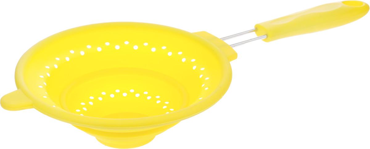 Дуршлаг Mayer & Boch, силиконовый, складной, цвет: желтый, диаметр 20 см