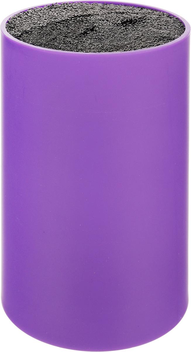 Подставка для ножей Mayer & Boch, цвет: фиолетовый, черный, высота 18 см. 2424324243-2Подставка для ножей Mayer & Boch отлично дополнит интерьер вашей кухни. Корпус и специальные волокна выполнены из полипропилена. Изделие отвечает всем нормам гигиенических требований, так как при необходимости наполнитель свободно вынимается и моется в посудомоечной машине. Подставка станет прекрасным подарком, а ее яркий дизайн станет украшением вашей кухни. Можно мыть в посудомоечной машине. Высота подставки: 18 см.Диаметр подставки: 11 см.